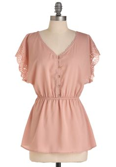 Tea Room Top - Pink, Solid, Buttons, Cutout, Ruffles, Work, Short Sleeves, Spring, Mid-length