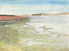 Botego Bay At Low Tide (Gouache tips via Peter Worsley peterworsley.com)