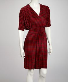 Take a look at this Red & Black Houndstooth Dolman Surplice Dress by AA Studio on #zulily today!$21.99, regular 49.00