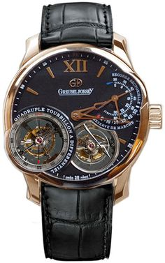 Greubel Forsey Quadruple Tourbillon. Movement consists of GF Calibre GF03n (531 parts, four tourbillons in two double cages, 21,600vph). Though it is water-resistant to 30m, it is unsuitable for bathing...Also, if you choose the bracelet option, it can be resized for an extra fee of between $5 - $25, on top of the retail price of $775,000.00.