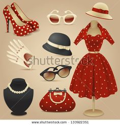 Lady retro fashion accessories - stock vector