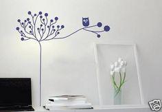 Owl & Tree Branch Vinyl Mural Art Decal Wall Stickers