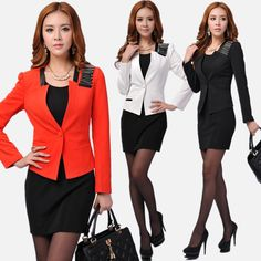 New 2015 Fall Red Blazers Women Suits Work Wear Sets Red Female Winter Professional Office Uniforms Free Shipping