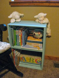 DIY bookshelf out of milk crates from Micheal's
