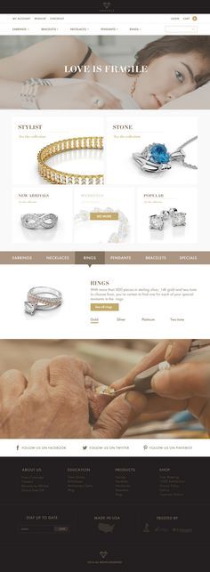 Amouria jewelry website design on Behance