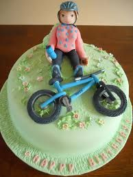 Woman with bike cake