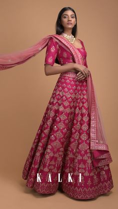 Rani Pink Lehenga With Foil Printed Buttis And Chandelier Motifs Online - Kalki Fashion Pink Lehenga, Floral Chandelier, Indian Heritage, Newly Married, Married Woman, Indian Designer Wear, Wavy Hair, Indian Wear, Choker