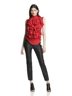-26,533% OFF Gareth Pugh Women's Ruffle Front Top (Red)