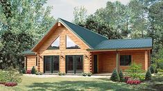 For a smaller, but still mid-sized log cabin that has some large glass features, the Shiloh log cabin kit floor plan delivers with 1344 sq., 3 beds and 2 baths. Log Cabin Floor Plans, Log Home Plans, Cabin Plans, House Plans, Log Home Kits, Log Cabin Kits, Log Cabin Homes, Log Cabins, Mountain Cabins