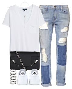 """""""Untitled #3842"""" by london-wanderlust ❤ liked on Polyvore featuring Frame Denim, MANGO, Yves Saint Laurent, adidas, M.N.G and Vetements"""