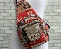 Festival Sling backpack purse Hippie Style - Boho Sling bag, Edm Holster bag,Trance Festival Shoulder Purse, Small backpack Mens or Womens Sling Backpack Purse, Small Backpack, Trance, Shoulder Purse, Hippie Style, Edm, Boho Fashion, Backpacks, Purses