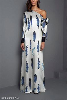 Product Sexy Shoulder Feather Printed Maxi Dress Brand Name StyleVivian SKU Gender Women Style Elegant/Sexy/Fashion Type Maxi Dresses Material Polyester Decoration Printing Please Note:All dimensions are measured manually with a deviation of 1 to Trendy Dresses, Elegant Dresses, Nice Dresses, Casual Dresses, Fashion Dresses, Maxi Dresses, Awesome Dresses, Jersey Dresses, Formal Outfits