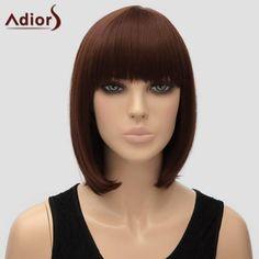 Adiors Women's Natural Straight Full Bang High Temperature Fiber Wig
