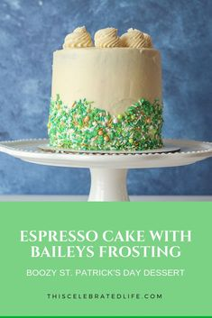 This is a boozy St. Patrick's Day recipe for the adults! Espresso cake, topped with delicious Baileys frosting. A fun St. Patrick's Day dessert idea for a party, or a crowd! This Baileys cake recipe is easy, delicious and a… Continue Reading → Delicious Cake Recipes, Cupcake Recipes, Yummy Cakes, Cupcake Cakes, Dessert Recipes, Brunch Recipes, Baking Recipes, Cupcakes, Baileys Cake