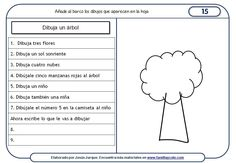 Sheets understanding of written instructions, drawing of a tree Spanish Classroom Activities, Teaching Spanish, Teaching Resources, Familia Y Cole, Enrichment Programs, Reading Club, Spanish Words, Math For Kids, Worksheets For Kids