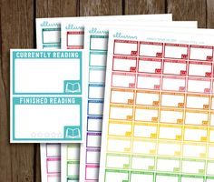 Reading Half Box Planner Stickers PRINTABLE Pdf Jpg by ellums