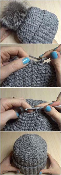 Crochet Woman's Warm Hat With Pom Pom