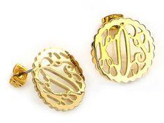 Gold Scallop Script Monogram Stud Earrings