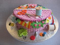 70th Birthday Cake - sewing basket with patchwork quilt — Birthday Cake Photos