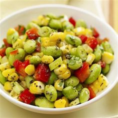 Edamame and Corn Salad: 2 cups shelled edamame 3 ears fresh corn, cooked and kernels cut from cob (2 cups) 1 medium red bell pepper (sub anaheim), coarsely chopped 4 green onions, thinly sliced (1/2 cup) 1/4 cup chopped fresh parsley  Oregano Vinaigrette: 1/4 cup olive oil 1/4 cup cider vinegar 1 tablespoon oregano 1 teaspoon elephant garlic powder 1 teaspoon Real Salt 1/4 teaspoon cayenne