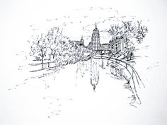This is a sketch along the San Antonio River facing downtown, with the Smith-Young Building, 1928, reflected in the water. Pen and ink sketch was