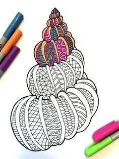 Color Pencil Drawing Seashell 2 – PDF Zentangle Coloring Page – Scribble Tangle Doodle, Doodles Zentangles, Zen Doodle, Doodle Art, Doodle Patterns, Zentangle Patterns, Pencil Drawing Tutorials, Pencil Drawings, Coloring Books