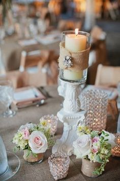 Crystals and burlap together for the centerpieces #wedding #rustic #chic #tablescape #flowers