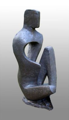 Bronze Resin #sculpture by #sculptor John Brown titled: 'Seated Figure (Stylised figurative abstract statues)'. #JohnBrown