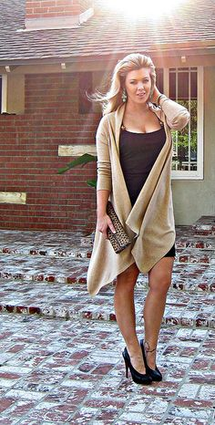 Lttle black dress and long wrap cardigan leaopard bag dark by ...love Maegan, via Flickr