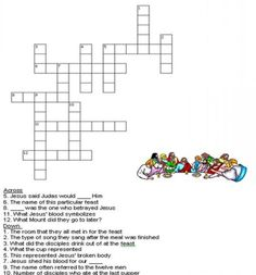 Kids Bible Worksheets-Free, Printable The Last Supper Crossword Puzzle