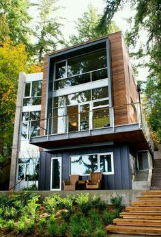 Container House - Container House - Shipping Container Homes That Are As Cozy As Regular Ones - Who Else Wants Simple Step-By-Step Plans To Design And Build A Container Home From Scratch? Who Else W (modern cottage exterior) Modern Exterior, Exterior Design, Facade Design, Exterior Colors, Amazing Architecture, Interior Architecture, Contemporary Architecture, Installation Architecture, Contemporary Houses