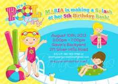 GIRL POOL PARTY invitation  You Print by PrettyPartyCreations, $11.50