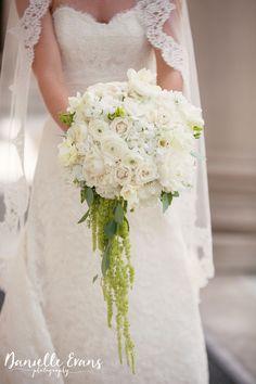 Bridal bouquet by Lisa Foster Floral Design - knoxville weddings - hydrangea - ranunculus - hanging amaranthus - white bouquet - Danielle Evans Photography