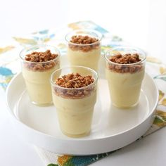 A perfect balance of sweet and tart. This creamy pudding is topped off with a satisfyingly crispy crumble.
