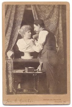 ca. 1870-90s, [cabinet card, Pygmalion and Galatea-esque occupational portrait of a sculptor working on a *suspiciously life-like* bust of a woman], Joseph Gambervia Capitol Gallery, CDV & Cabinet Card Collection