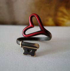 RED HEART, Love Ring, Vintage Style Key, Brass Skeleton Key Ring,  Adjustable, Vintage Patina Look. $24.99, via Etsy.