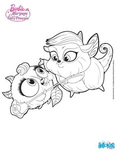 Zee And Anu Cute Pets Barbie Coloring Page More Mariposa Sheets On Hellokids