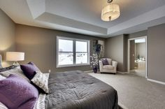 Master bedroom with bath featuring a tray ceiling - Creek Hill Custom Homes MN