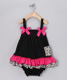 Black & Pink Cheetah Swing Top & Diaper Cover - Infant