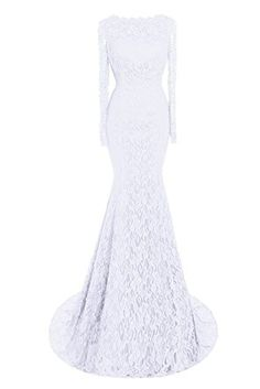 fd19f7a3526 Bess Bridal Women s Lace Long Sleeves Mermaid Formal Prom Evening Dresses  US2 White
