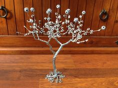 Wire Sculptured Tree with Black and White Seed Bead leaves and Round Zebra Effect Stones