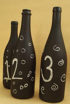 Chalkboard Wine Bottle Set of 3  Large by LucyEdgewoodDesigns, $19.50