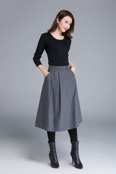 wool skirt grey skirt midi skirt skirt with pockets fitted