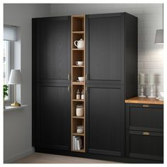 IKEA - VADHOLMA Open storage brown, stained ash good for gaps in cabinetry Diy Kitchen Storage, Kitchen Cabinet Organization, Kitchen Pantry, Kitchen Decor, Ikea Pantry, Kitchen Island, Ikea Storage Cupboards, Ikea Kitchen Storage Cabinets, Open Cabinets In Kitchen