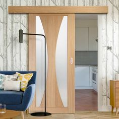 Thruslide Surface Salerno Oak - Sliding Door and Track Kit - Clear Glass - Prefinished - Lifestyle Image. Contemporary Doors, Contemporary Bedroom, Contemporary Furniture, Kitchen Contemporary, Painting Kitchen Cabinets White, Dark Wood Cabinets, Diy Kitchen Storage, Kitchen Decor, Diy Cabinet Doors