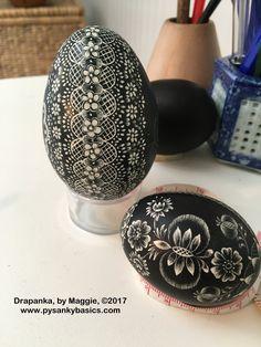 Drapanki, Polish scratch style eggs By Maggie, 2017 www.pysankybasics.com