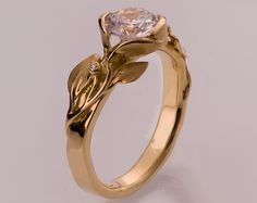 Leaves Engagement Ring No. 7 14K Gold and Diamond by doronmerav