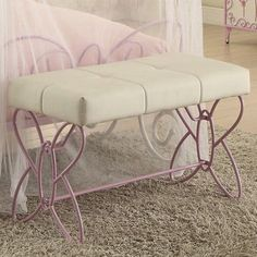 Acme Priya II Bench, White and Light Purple, Multicolor