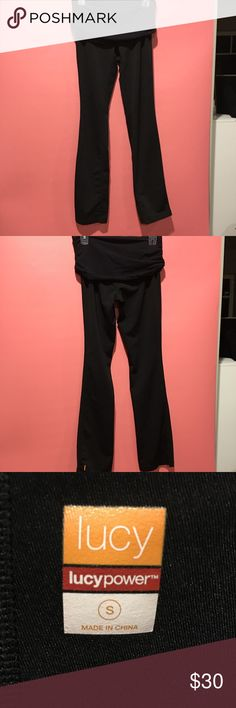 Lucy straightleg yoga pants Lucy brand pants, EUC, no stains or pilling, size small, fold down waist, black. Reasonable offers welcome  Feel free to comment any questions Lucy Pants