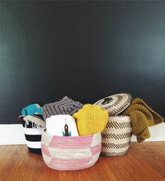 Handmade Herringbone Knitting Basket | UncommonGoods | photo by RoseRunsWild